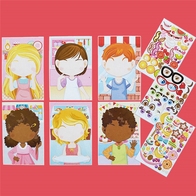 9pcs/set Stickers DIY Cute Stickers Children Puzzle Games Make-a-Face Princess Animal Dinosaur Assemble Toys for Girls Training 4