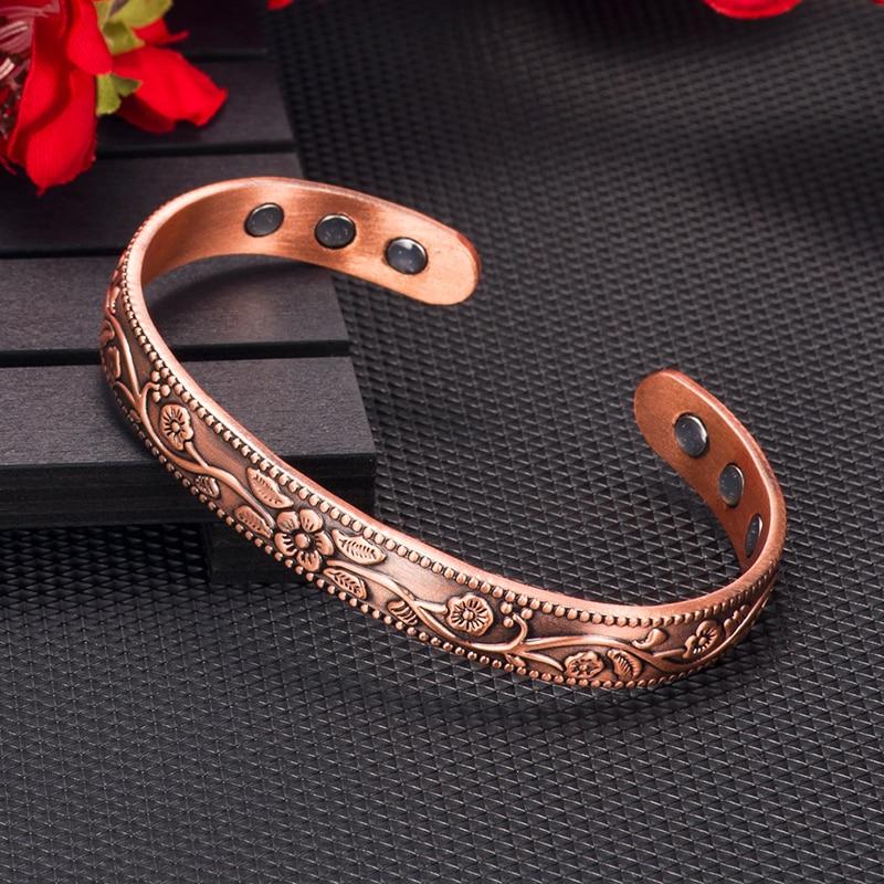 Vinterly puro cobre pulseira femme benefício vintage flor energia magnética pulseira de cobre ajustável manguito pulseiras para mulher