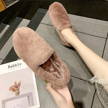 CXJYWMJL Women Winter Warm Shoes 7 Plush Fashion Flat New Wild Plus Velvet Casual Shoe Autumn And Home 6857