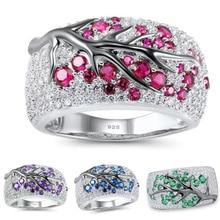 Vintage ciruelo flor pavimentada planta patrón anillos para Mujeres Hombres plata 925 CZ anillo 2019 Bohemia banquete joyería fina