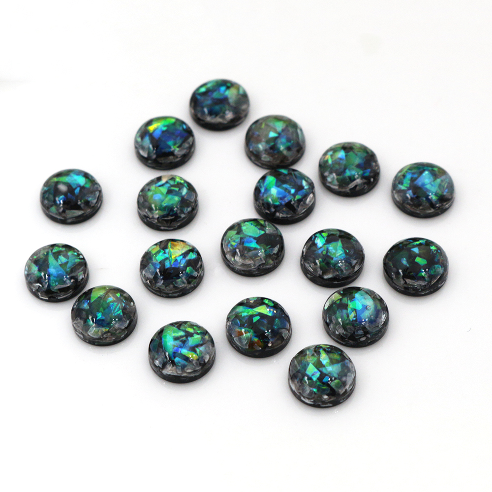 New Fashion 8mm 40pcs/Lot Black Color Built-in Metal Foil Flat Back Resin Cabochons Cameo V7-10