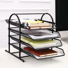 Desk Organizer Filling Cabinet Paper Tray Magazine Holder Document Book Brochure Rack Shelf Carrier Metal Storage