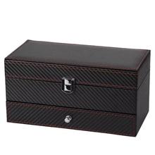 Box Watch-Case Storage-Box Display Double-Jewelry Black 4-Grid Rack Couple