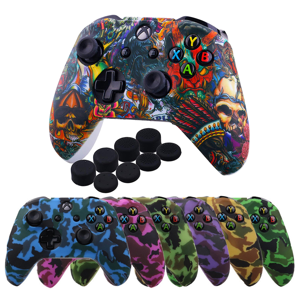 ZOMTOP Water Transfer Printing Camo Silicone Cover Skin For Xbox One X S Controller Protector Case With Joystick Grips