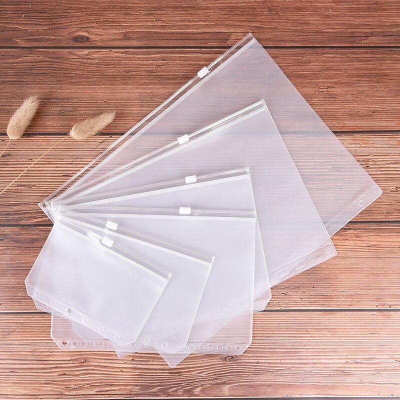 1Pcs A5 A6 PVC Binder Folder Filing Products Card Holder Bag Zipper Receive Bag