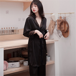 Image 3 - JULYS SONG New Woman Spring Sleepwear 3 Piece Sexy Lace Faux Silk Pajamas Set Women Lace Sling Sleeveless Trousers Summer Robe