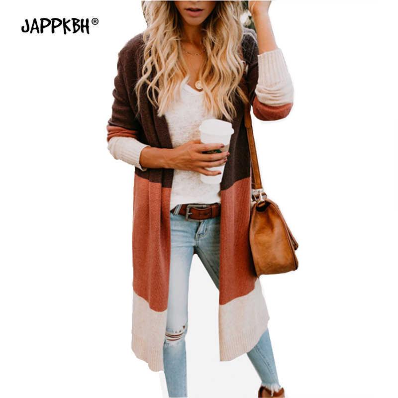 Осенний зимний кардиган для женщин, Повседневный, размера плюс, длинный вязаный свитер, pull femme nouveaute 2019, в стиле пэчворк, длинный рукав, женский свитер