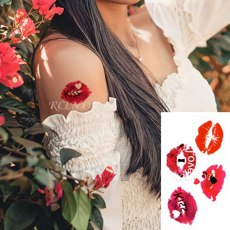 Waterproof Temporary Tattoo Sticker Red Mouth Kiss Words Heart Pattern Body Art Fake Tatto Flash Tatoofor Girl Men Women