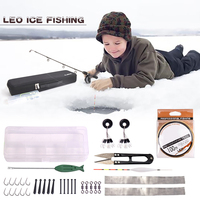 1 Set Telescopic Fishing Rod and Reel Full Kits Fishing Gear Pole Sets with Line Lures Hooks Case Winter Ice Fishing Rod Kit