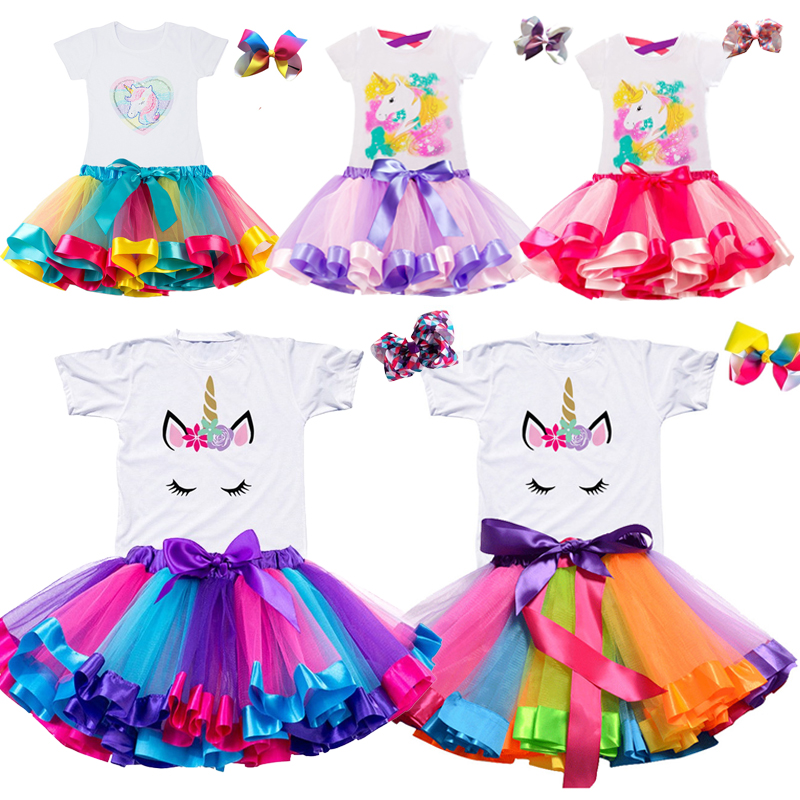 Gilrs Unicorn Princess Dress Children's Birthday Party Dresses Outfits For 2 to 6 Years Kids Girl Clothes Baby Girl Clothing 1