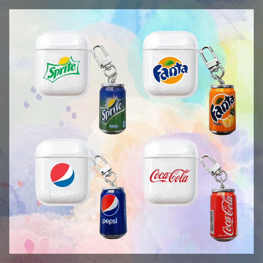 3D Cute Pendant <font><b>Case</b></font> for Apple <font><b>Airpods</b></font> 2 1 Air Pods Pod Funda with World <font><b>Brand</b></font> Beverage Earphone Cover Coque <font><b>Cases</b></font> Accessories image