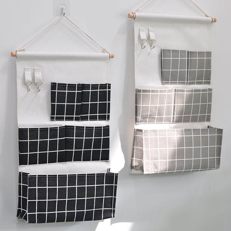 5 Pockets Cotton Linen Fabric Wall Door Hanging Bag Organizer Storage Pouches Wardrobe Closet Storage Bag Sundries Pouches