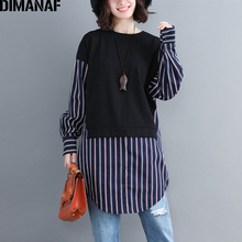 DIMANAF Plus Size Women Sweatshirts Autumn Winter Big Fashion Striped Spliced Loose Long Sleeve Female Tops Shirts 2019 New