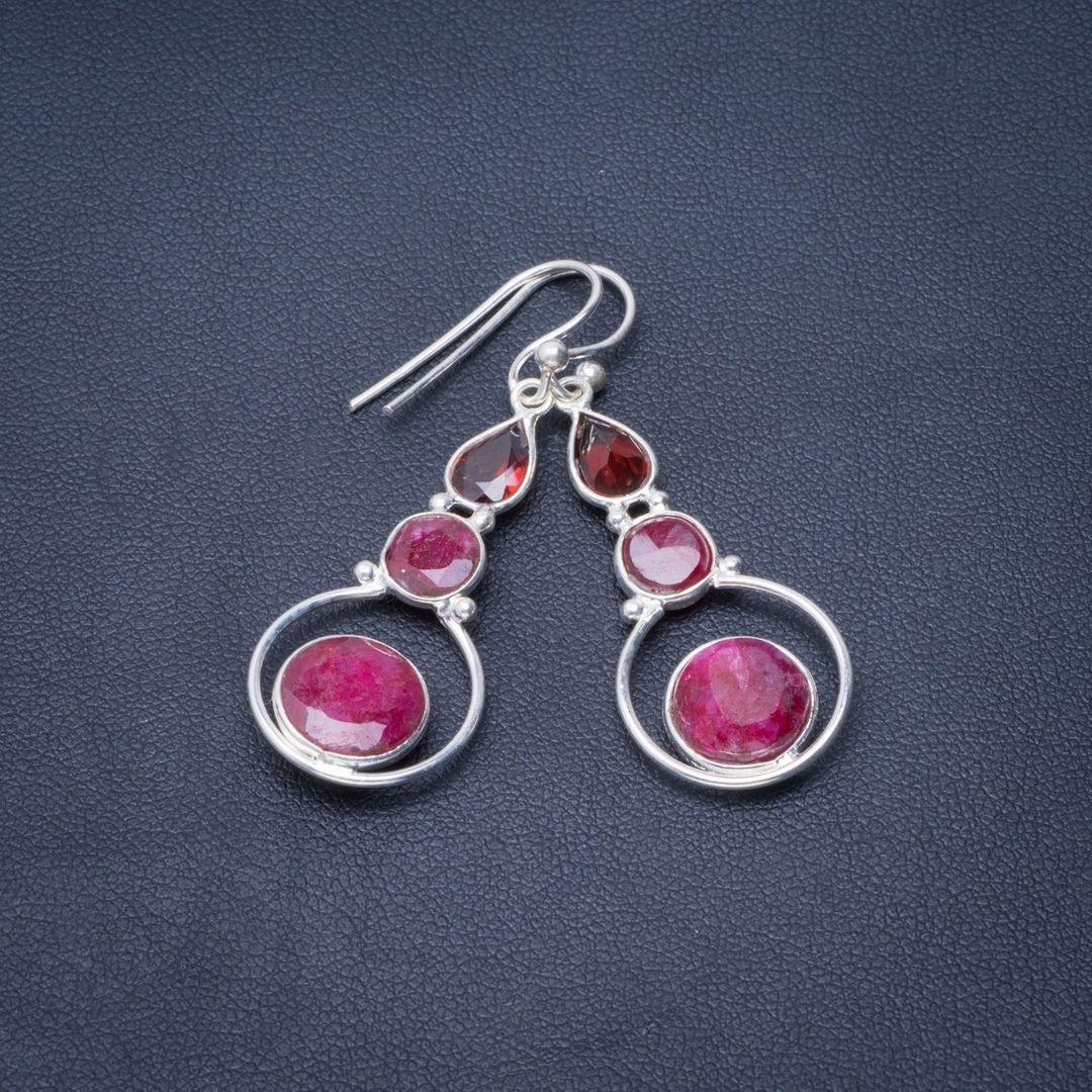 Boucles d'oreilles uniques en argent Sterling 925, rubis cerise naturel et grenat, 1.75