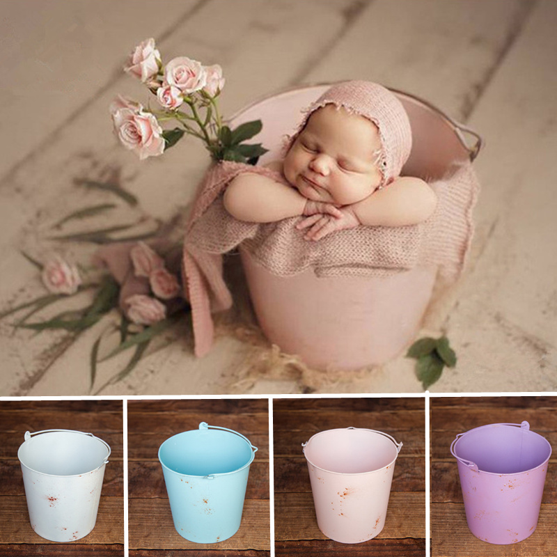 Baby Props For Photography Retro Solid Color Iron Bucket Newborn Photography Accessories Boy Newborn Props Basket Distressed