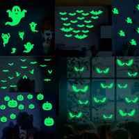 2020 gran oferta 18 unids/set que brilla en la oscuridad ojos pegatina de cristal para la pared decoración de Halloween adhesivos luminosos adornos para el hogar-verde