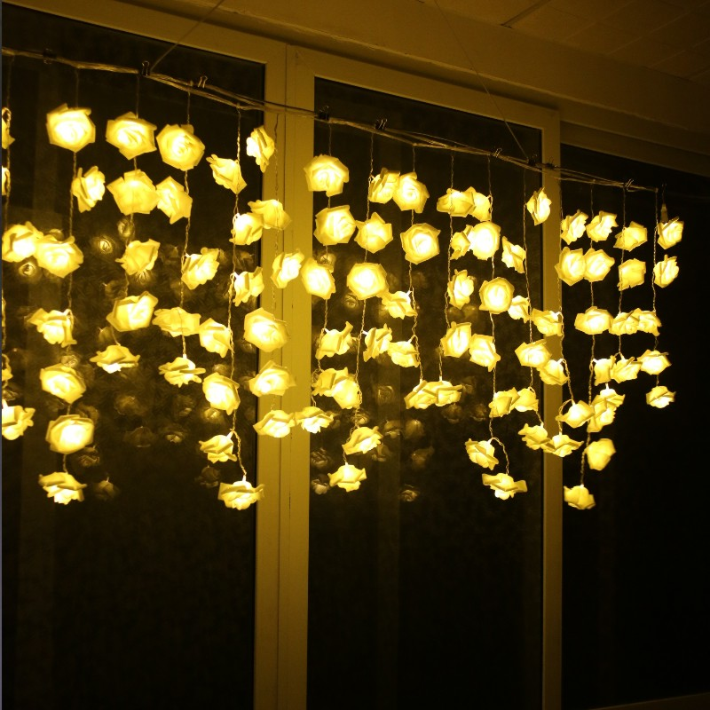 3.5M 96 LED Rose Flower String Light Christmas Fairy Curtain Light Valentine Wedding Holiday Party Decoration Luminaria Garland