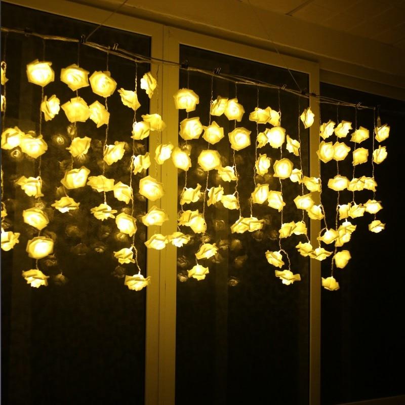 3.5M 96 LED Rose Flower String Light Christmas Fairy Curtain Light Valentine Wedding Holiday Party Decoration Luminaria Garland