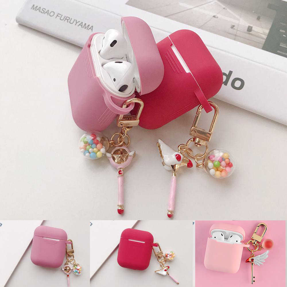 For AirPods Case luxury with Keychain Accessories Silicone Case Wireless Earphone Cover Cartoon For Air pods 2 Protective case