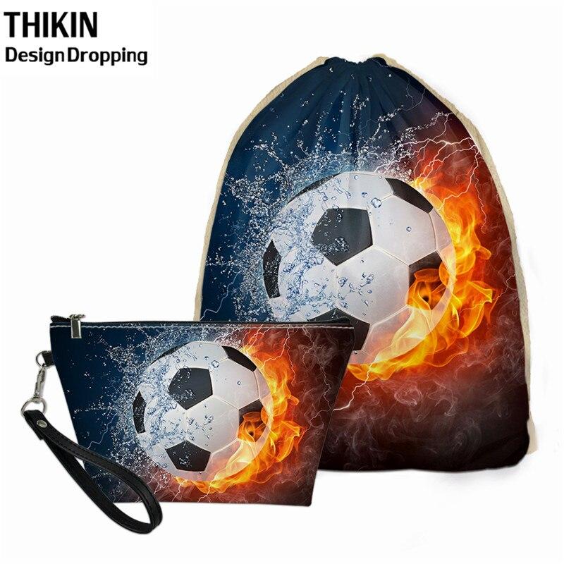 THIKIN Fashion Fire Soccer Football Women String Backpack For Travel Drawstring Bag Ladies Custom Makeup Bag 2pcs Bolsos Mujer