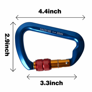 35KN Descender &Carabiner Durable Aluminum Magnesium Alloy Figure  Rock Climbing Rappelling Rescue Equipment Set