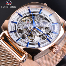 Forsining Square Rose Gold Mechanical Watch Men Automatic Transparent Slim Analog Business Dress Stainless Steel Mesh Band Clock