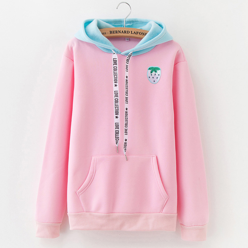New Autumn Casual Sweatshirt With Long Sleeve Hoodie For Women With Cute Contrast Hoodie Fashion Autumn With Pocket Drawstring