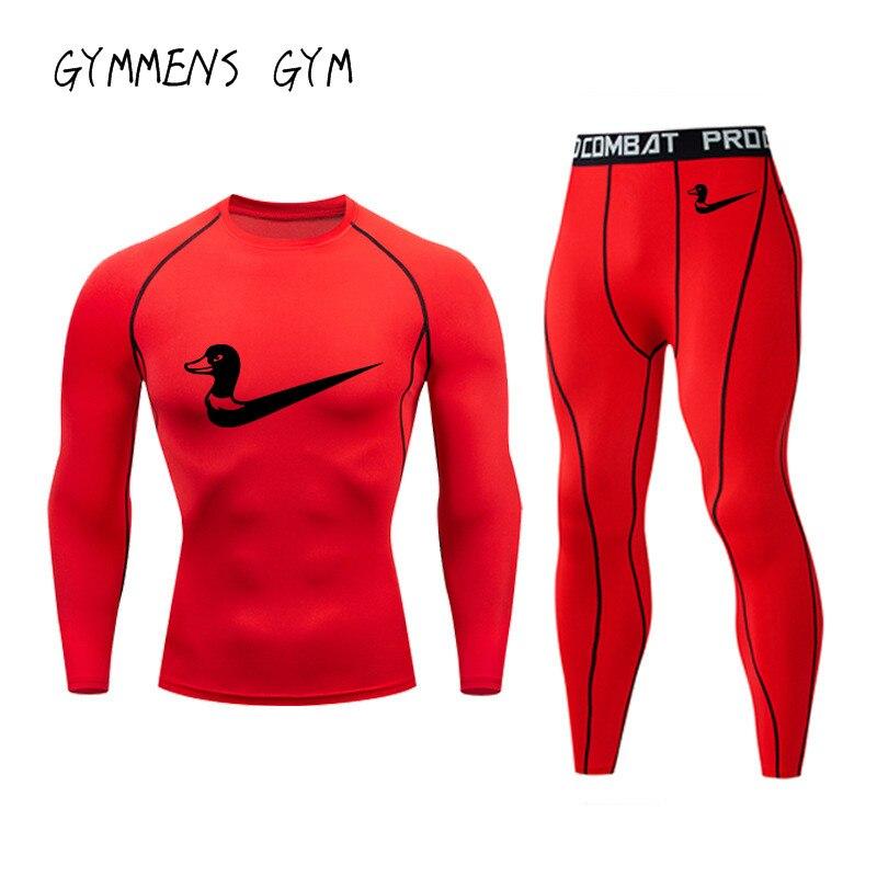 GYMMENS GYM Brand Men's Sports Suit Compression Suit Fitness Training Set MMA Rashgard Men's Quick-drying Solid Color T-shirt