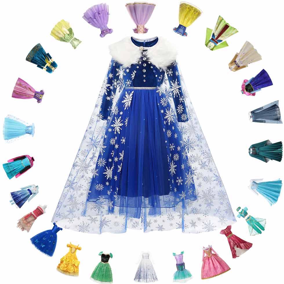 Disney платье принцессы с рисунком Эльзы; Зимнее платье с длинными рукавами для девочек, «Холодное сердце» 2 королевы, Анны, костюм детский карн...