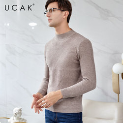 UCAK бренд мериносовой шерстяной мужской свитер уличная Slim Fit Pull Homme Осень Зима Водолазка свитера кашемировый пуловер для мужчин U3046