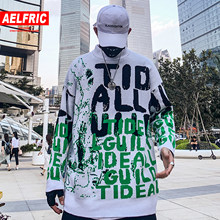 AELFRIC Letter Graffiti Knitwear Mens Pullover 2019 Autumn Harajuku Fashion Hip Hop Tops Casual Male Outwear Sweaters Streetwear(China)