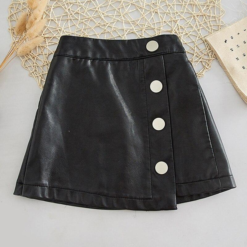 Модная осенне-зимняя Новинка, Корейская юбка для маленьких девочек, юбка из искусственной кожи для девочек, одежда для девочек, одежда для д...