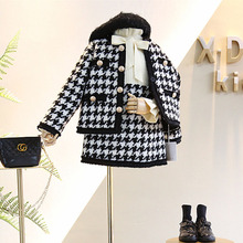 2020 Spring Autumn New Arrival Girls Fashion  Houndstooth 2 Pieces Suit Coat+skirt Kids Tweed Sets  Girls Clothes