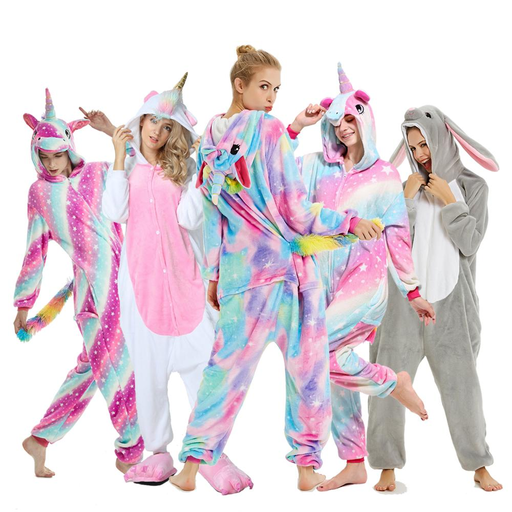 Unicorn Pajamas Onesie Animal Women Kigurumi Stitch Adult Hooded Sleepwear Winter Flannel Christmas Deer Shark Unicornio Pijamas