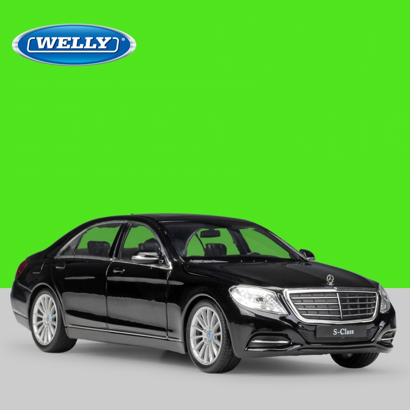 1:24 Welly Benz S-Class black/white Diecast Model Car