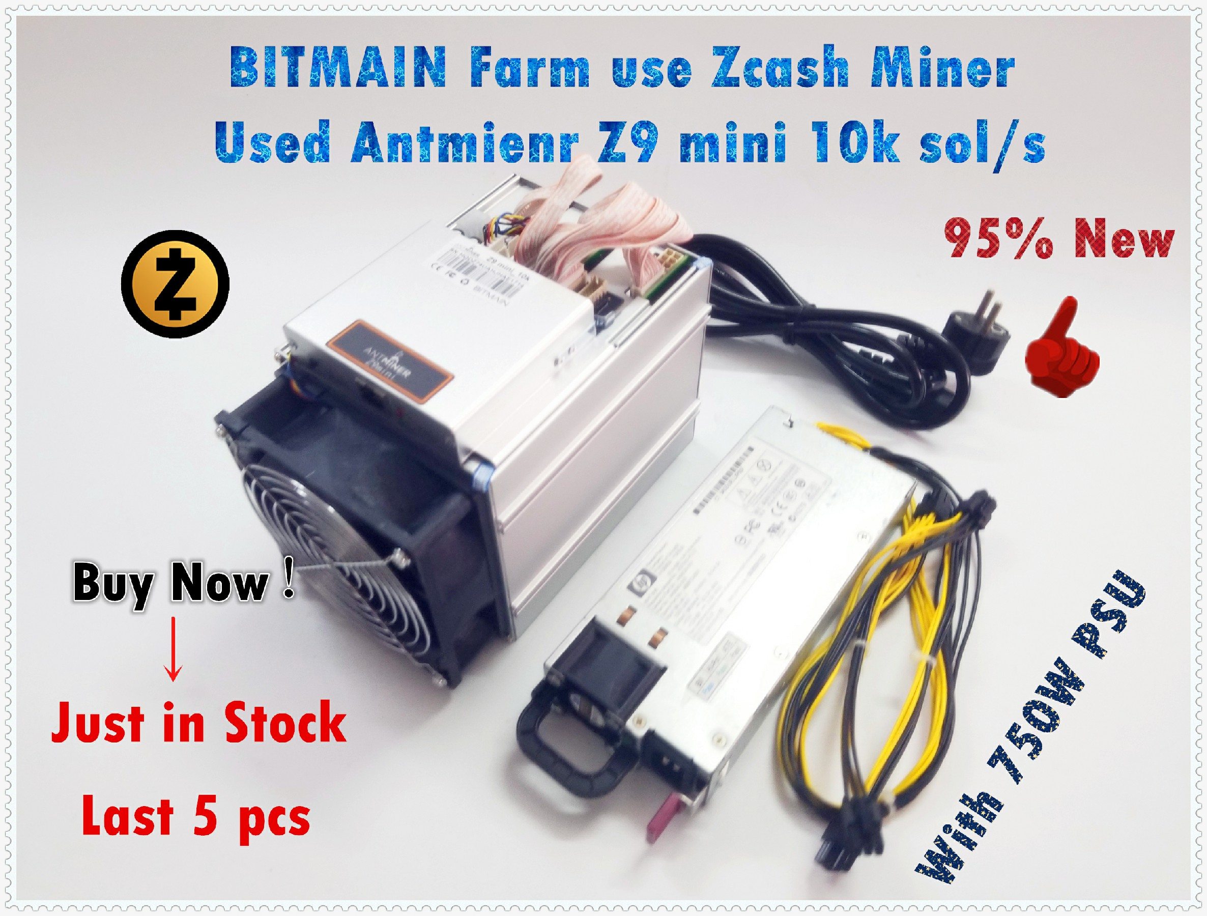 Ship in 24 hours Used ZCASH Miner Bitmain Antminer Z9 Mini 10k Sol/s 300W Asic Equihash Miner With 750W Power Supply 1