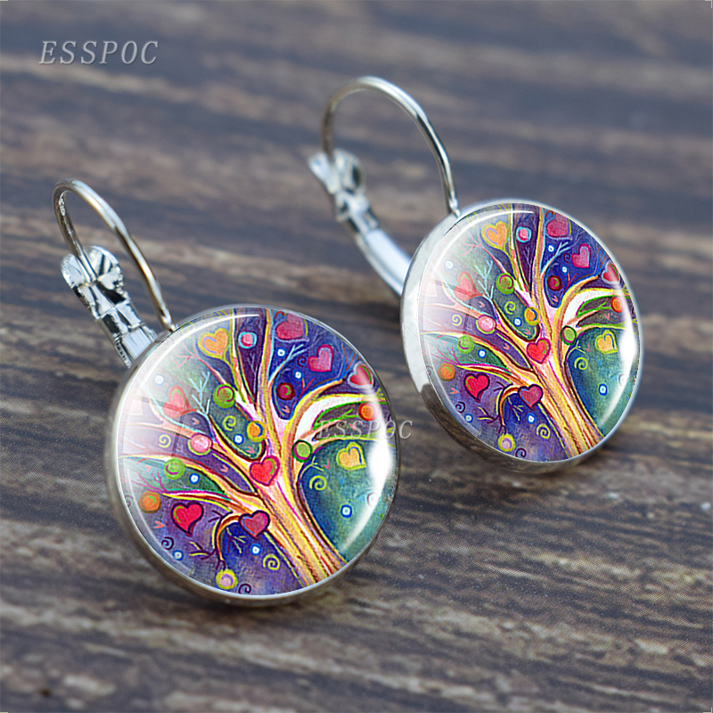 Tree of Life Silver Color Earrings Fashion France Earrings for Women EarHook Earrings Life Tree Glass Cabochon Jewelry Girl Gift