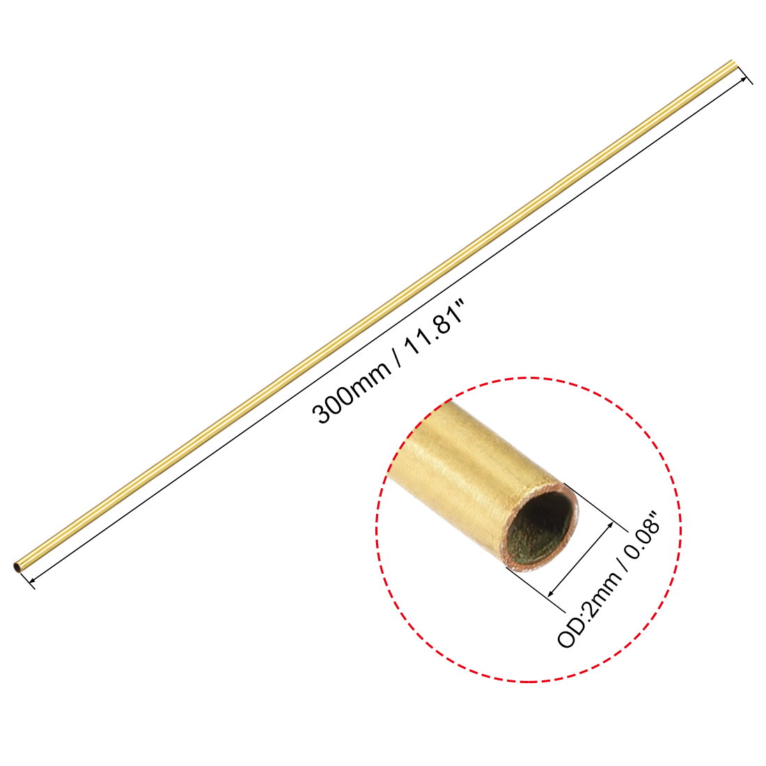 Uxcell Brass Round Tube 300mm Length 2mm OD 0.2mm Wall Thickness Seamless Straight Pipe Tubing 2 Pcs
