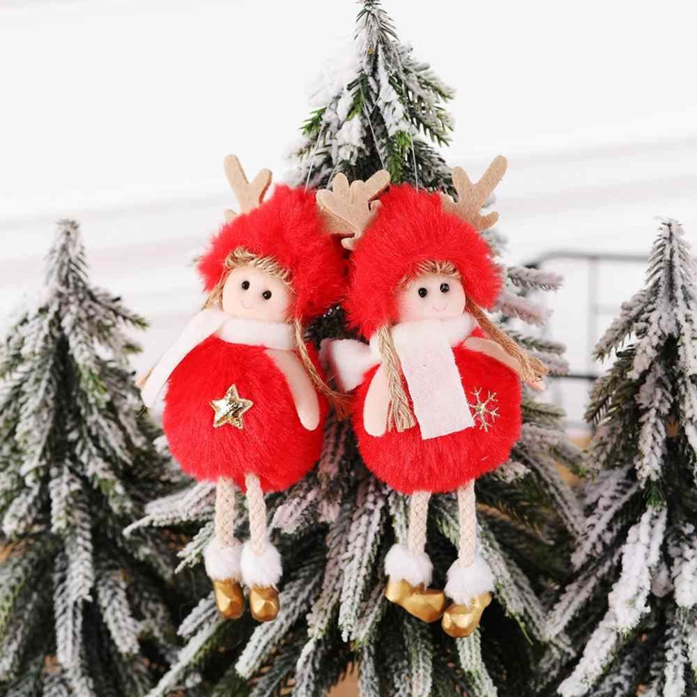 Bonito anjo boneca menina pingente de pelúcia decorações da árvore de natal em casa de madeira árvore de natal ornamentos de natal presente das crianças 2020 ano novo