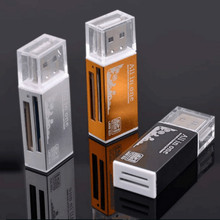 4 em 1 Shell Leitor De Cartão De Metal de Alumínio USB2.0 All in one de Alta velocidade Universal leitor de Cartão TF SD MMC Leitor de Cartão