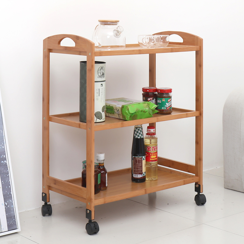 Home Kitchen Dining Car Boutique Beauty Salon Car Hotel Tea Solid Wood Car Three-layer Mobile Trolley
