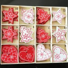 10PCs 5cm Wooden Christmas Tree Toys Articles For Chirstmas Hanging Ornaments Xmas Decor For Home Party Wedding New Year Noel(China)