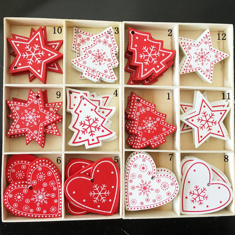 10PCs 5cm Wooden <font><b>Christmas</b></font> Tree Toys Articles For Chirstmas Hanging Ornaments Xmas Decor For Home Party Wedding New Year Noel image