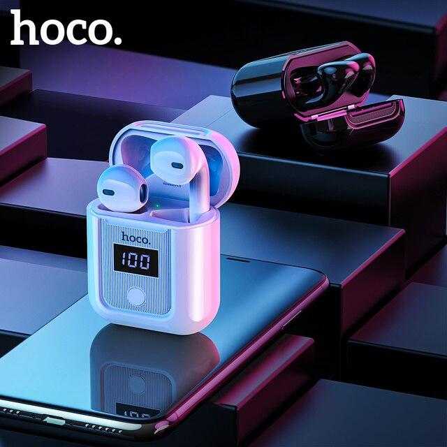 Hoco fone de ouvido sem fio gêmeos, fone de ouvido bluetooth 5.0 com display led, caixa de carregamento mãos livres, música estéreo + capa para iphone 11 pro pro pro