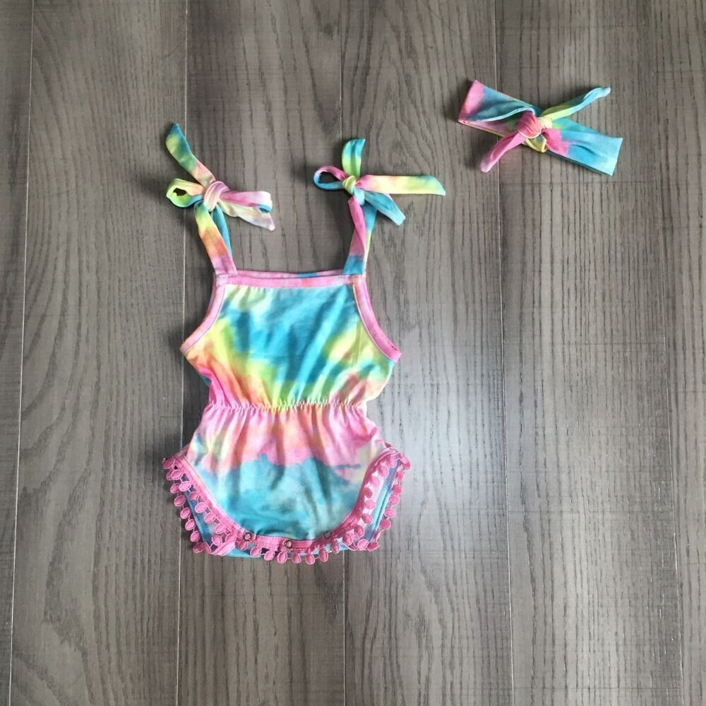 Baby Girls Clothes Girl Summer Romper Baby Kids Toddler Sling Tie Dye Romper With Headband