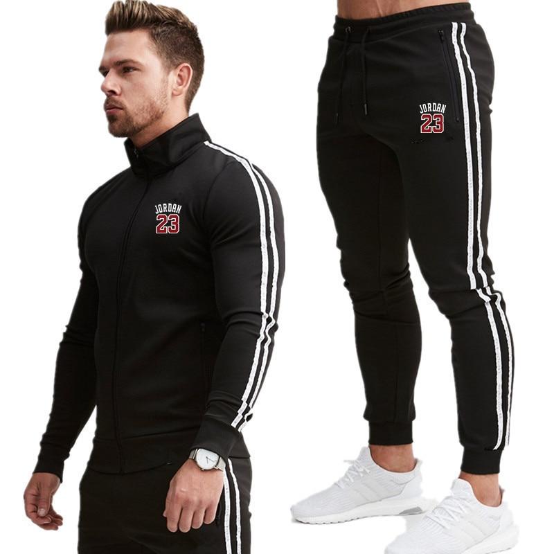 Men 2020 New Suit Two Pieces Set Men's Zipper Hoodie Jacket Sweatshirt + Pants Male Hoody Jogging Tracksuit Sportswear Outfit