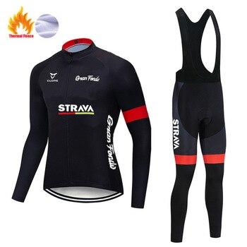 STRAVA – ensemble polaire thermique pour homme, tenue de cyclisme, de Sport, d'équitation, vtt, avec bretelles et pantalon, nouvelle collection hiver 2