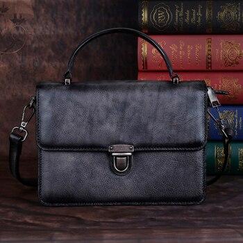 Real Cowhide Women Single Shoulder Crossbody Handbag Flag Luxury Retro Briefcase Female Messenger Bags Genuine Leather Tote Bag