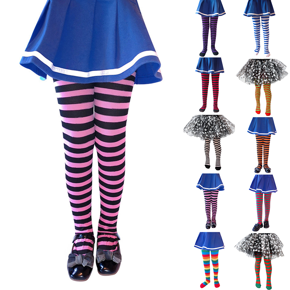 6-8 Years Girls Cosplay Stocks Kids Striped Pantyhose For Girls Halloween Party Girls Performance Costume Stockings D40