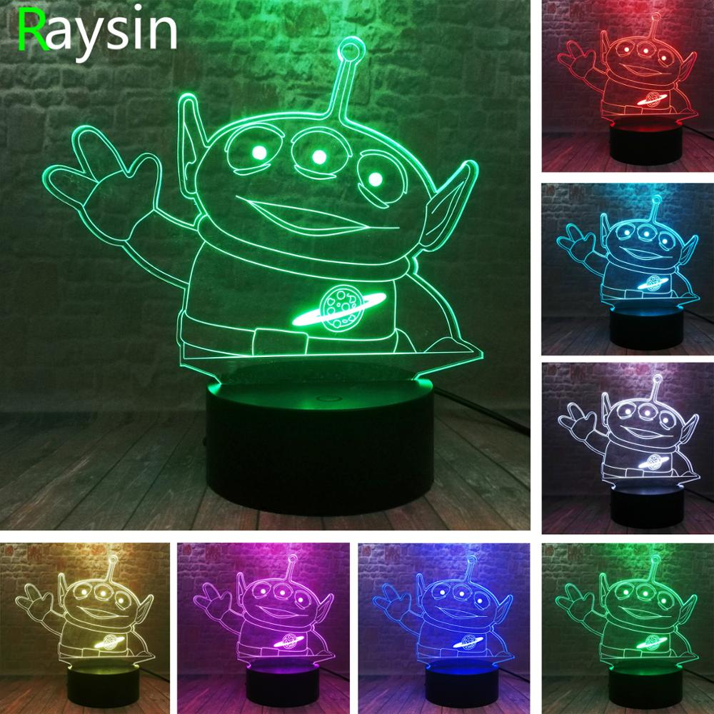 Toy Story Green Alien Pets Pixar 4 Aliens Friends Figures - 3D Smart 7 Colors Display RGB Night Light Adults Children Xmas Gifts
